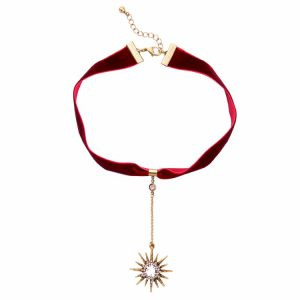 Red Velvet Sunburst Medallion Choker