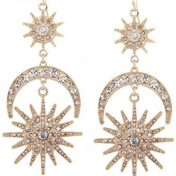 vintage rhinestone sun moon earrings
