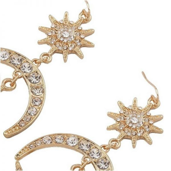 vintage sun moon rhinestone earrings