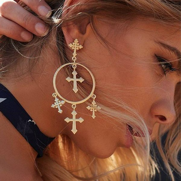 vintage cross circle chandelier earrings
