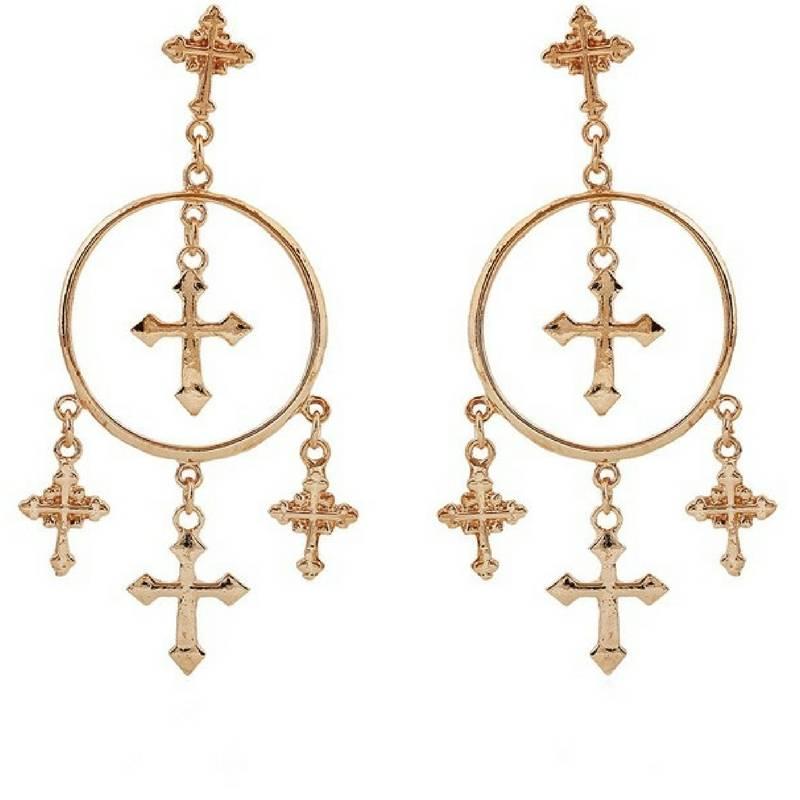 Vintage Cross Circle Chandelier Earrings