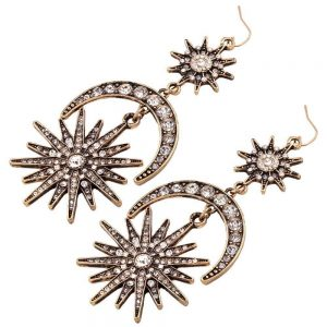 black and gold sun and moon rhinestone dangly earrings