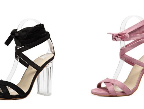 compare black and pink vegan suede lucite heels
