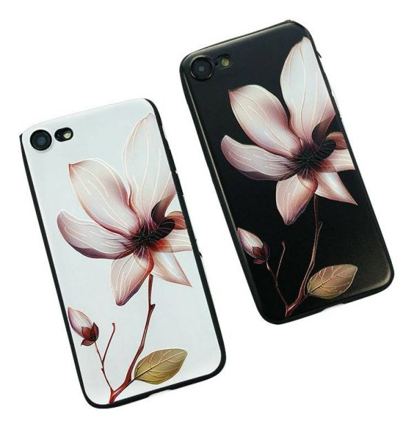 black and white belladonna flower iphone cases