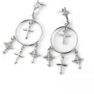 multi-cross chandelier earrings in silver