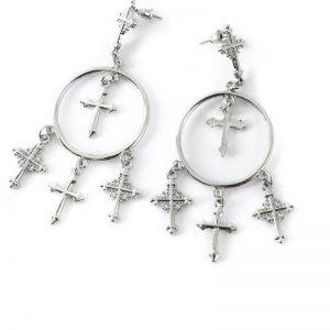 multi-cross chandelier earrings in silver