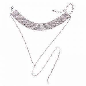 Glam Crystal Rhinestone Choker in Silver