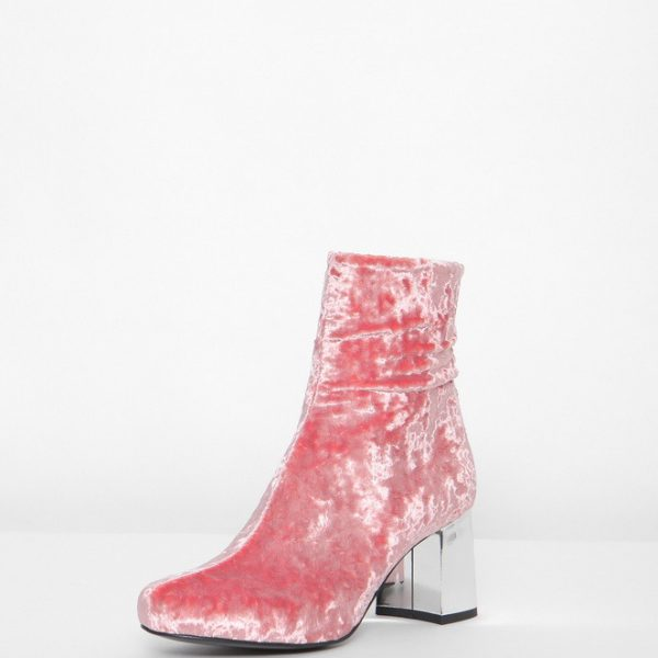 side view pink crushed velvet ankle boot