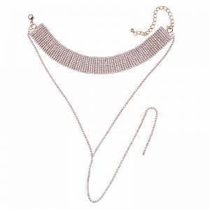 rose gold and pink collared long choker