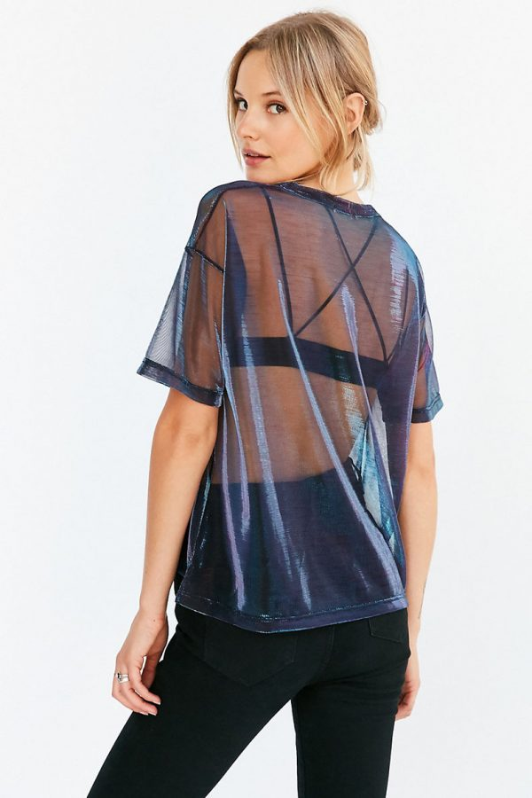 back of mesh top in purple blue