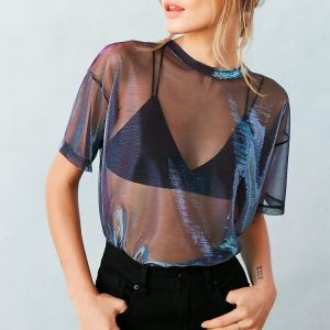 purple blue mesh top