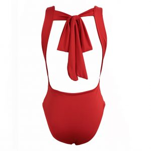 back view erica bodysuit in red