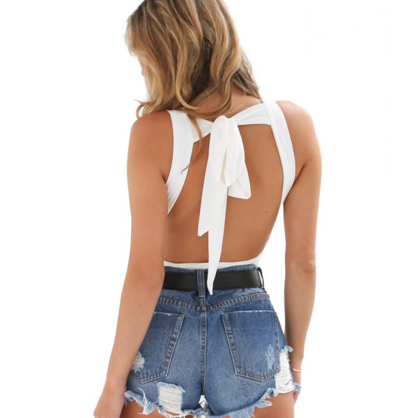 the erica backless bodysuit in white back view