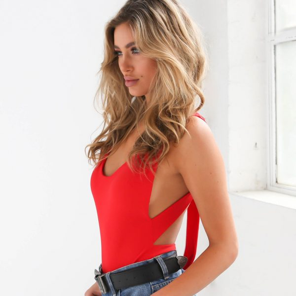the erica backless bodysuit in red