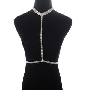 silver rhinestone choker harness bra