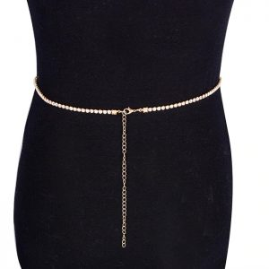 back view of gold rhinestone waist chain