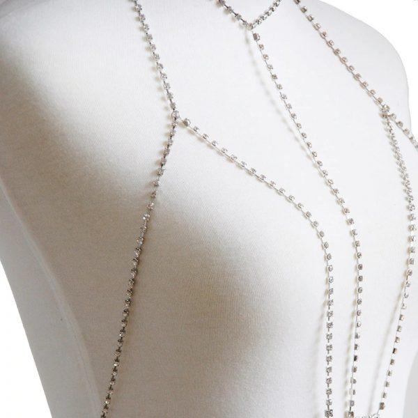 silver rhinestone harness bra frontal