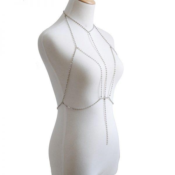 side view silver rhinestone harness bra