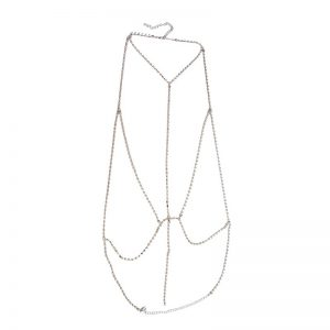 silver rhinestone harness chain bra