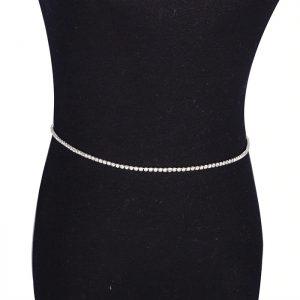 silver rhinestone waist chain