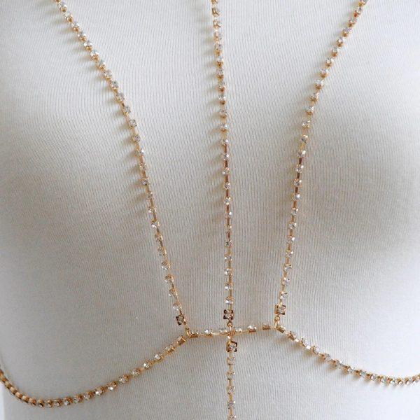 up close gold rhinestone harness bra