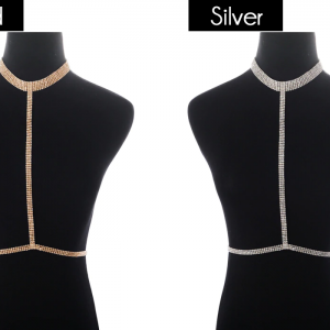 gold and silver diamond choker harness bras