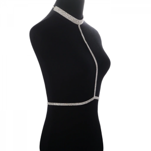 side view silver diamond choker harness bra